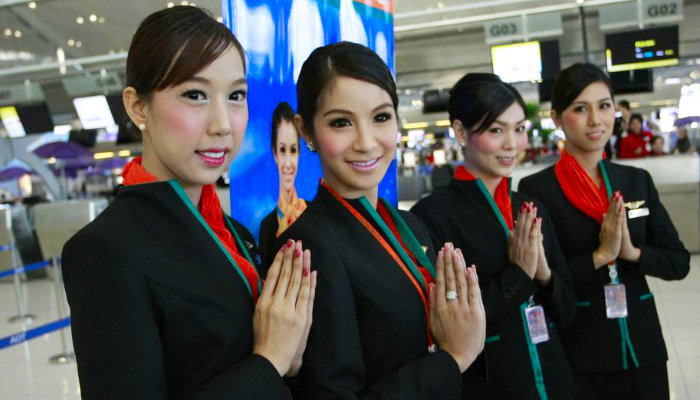 Thai ladyboys flight attendants